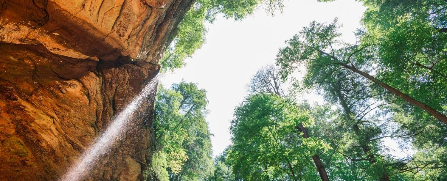 Perspective view of Ash Cave at Hocking Hills State Park.