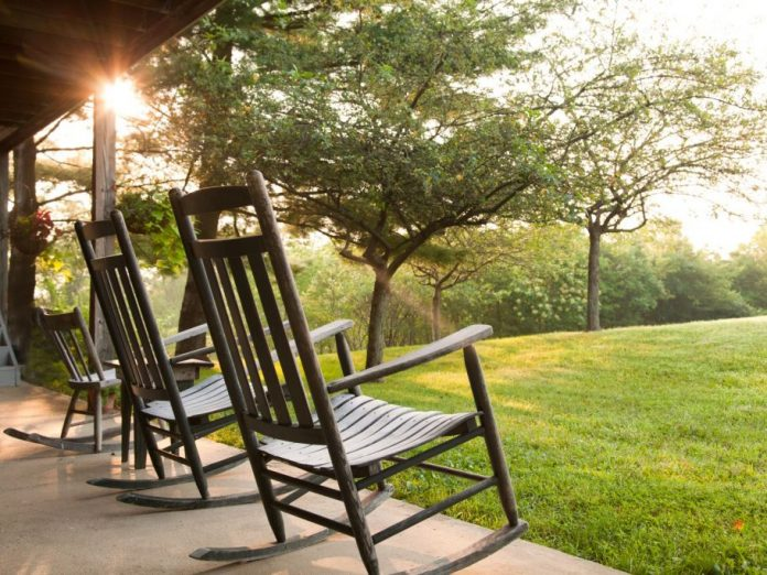 Rocking chairs on porch of lodge