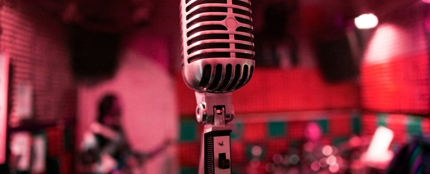 old style large jazz microphone