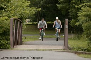 Couple biking through Great Seal State Park