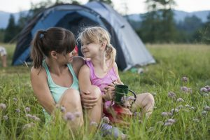 Mother and daughter enjoying Hocking Hills camping