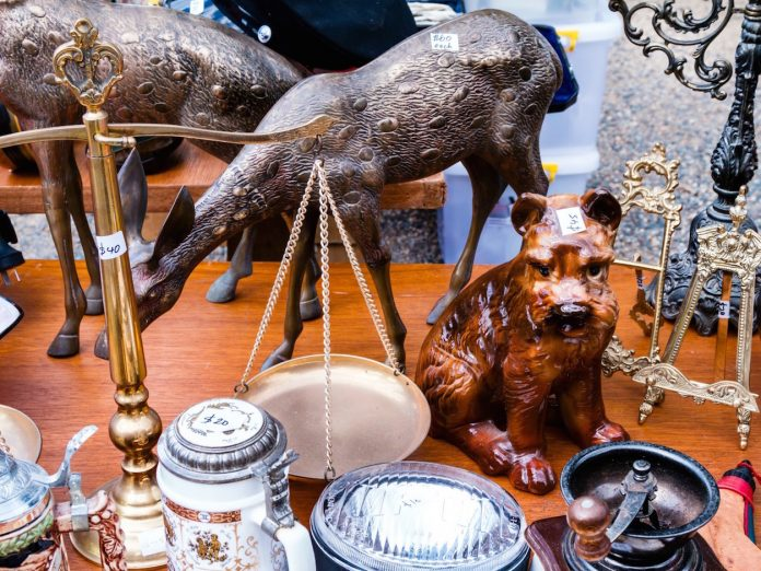 Antique items on table