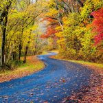 View of an autumn road in Ohio in the fall