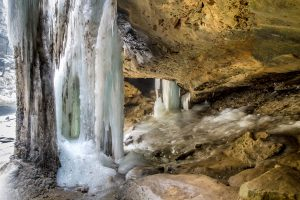 Ice in Hocking Hills State Park during Christmas in Ash Cave