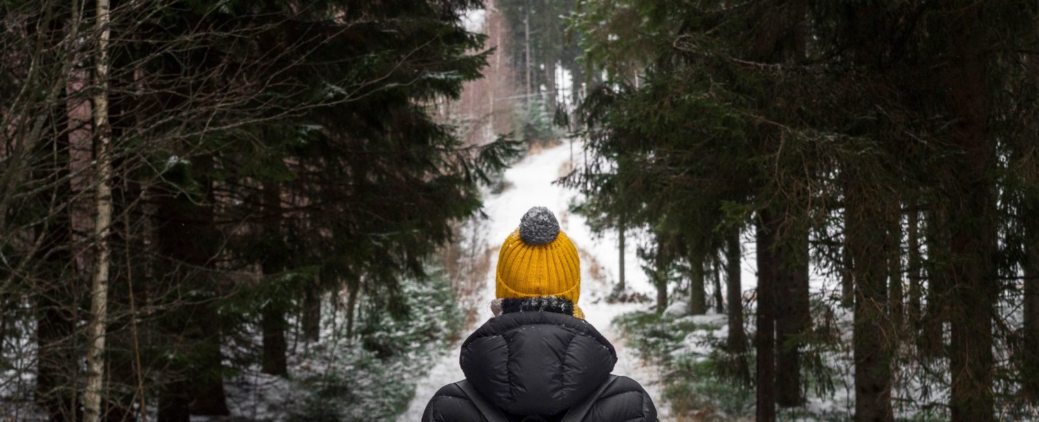 woman hiking through the forest during winter