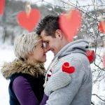 Couple in the snow enjoying Valentine's Day getaways in Ohio