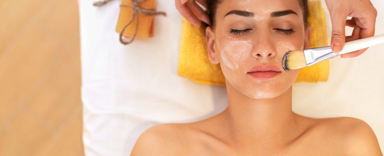 Woman in Beauty Salon Gets Marine Face Mask