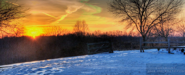 winter sunrise in Hocking Hills