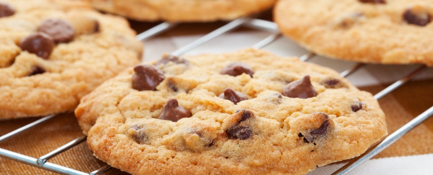 Chocolate chip cookies on tray