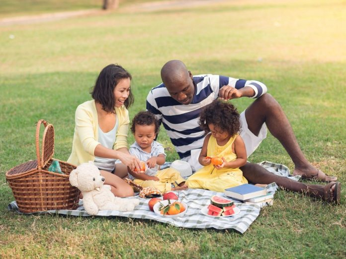 Family having a picnic in the park.